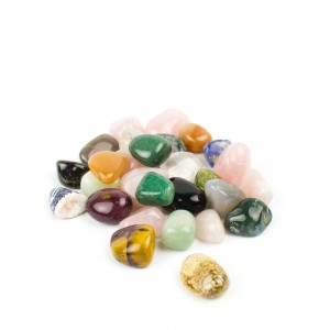 Multicolored gems, assorted tumbled rocks for terrariums