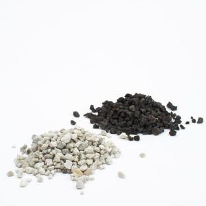 Black and white lava rocks or pumice for succulent bonsai or succulent terrarium