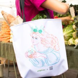 Farmers Market with Terrarium Goddess Tote Bag with Illustration by Allison Ranieri